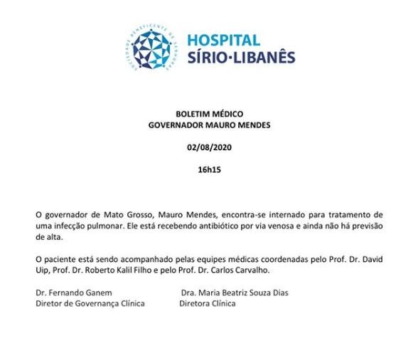 Boletim médico Mauro Mendes 03/08