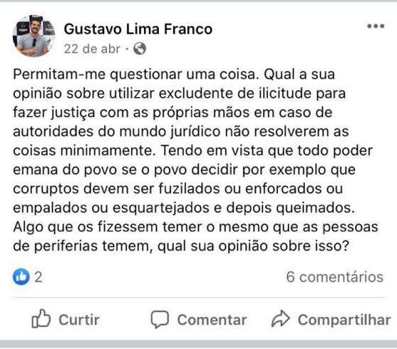 Gustavo Lima Franco excludente de ilicitude