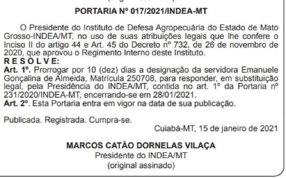 Marcos Catão prorroga férias ato