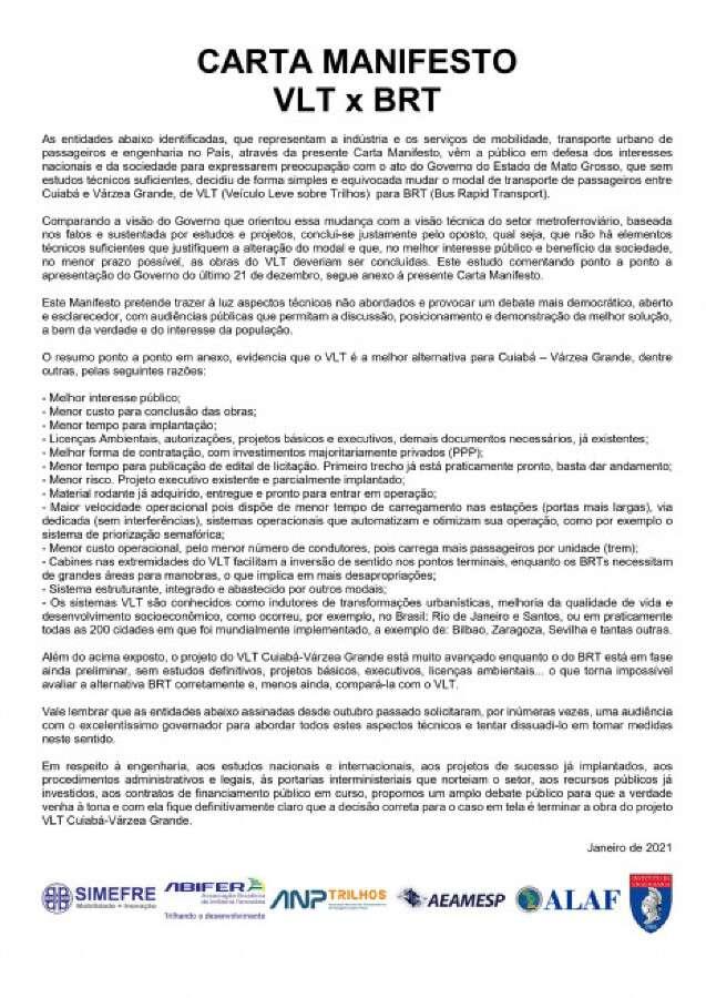 Carta Manifesto VLT X BRT